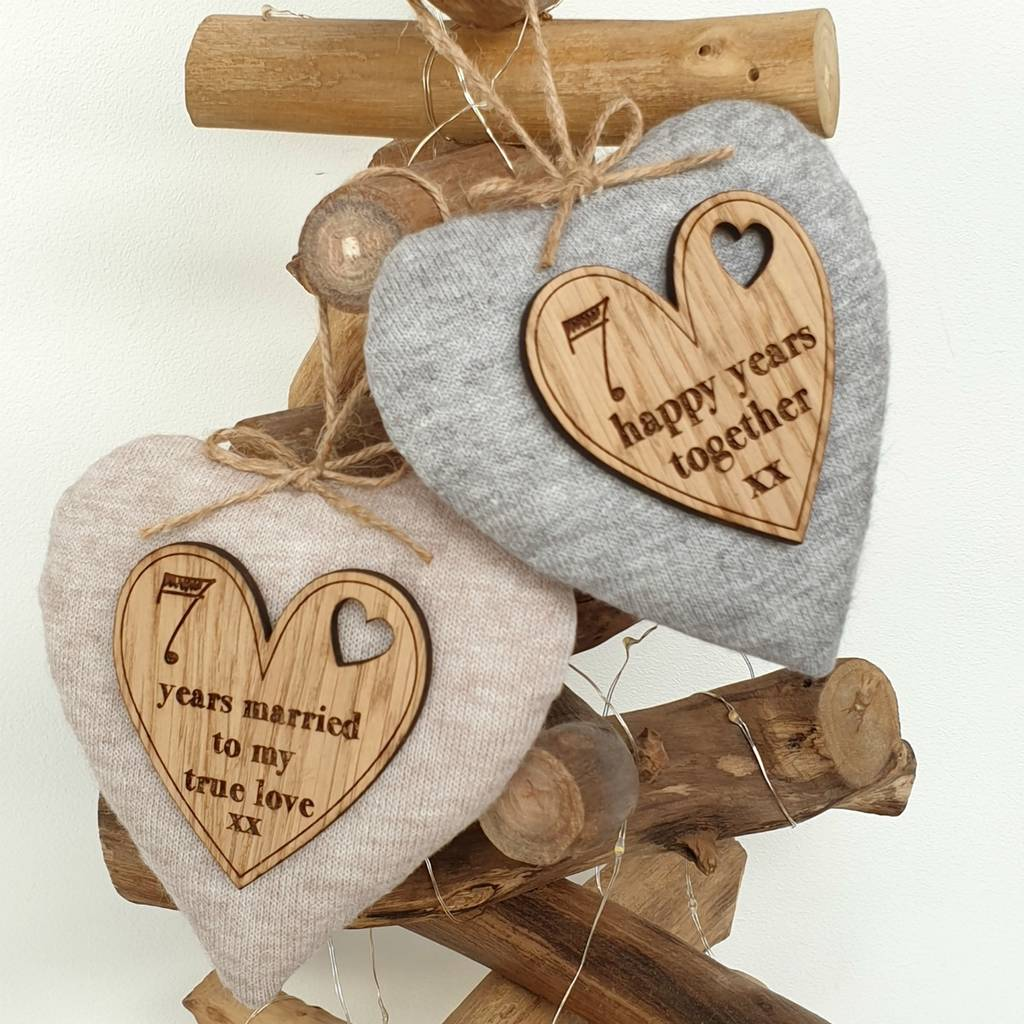 7th Wedding Anniversary.7th Wedding Anniversary Wool Heart With Oak Message