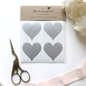Silver Heart Decorative Stickers - ribbon & wrap