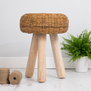 Wooden Stool With Wicker Seat - furniture
