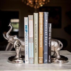 Nickel Plated Elephant Bookends - bookends