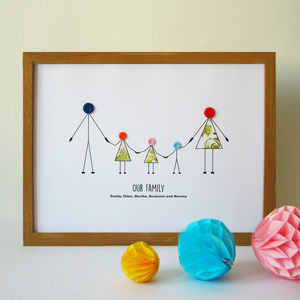 Personalised Family Button Print - mixed media & collage
