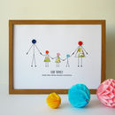 button family personalised print with 3 children in a wooden frame