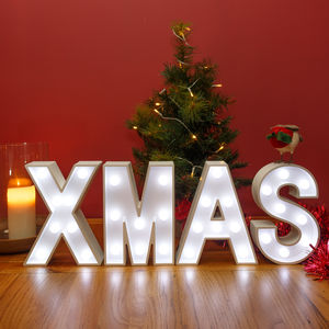 White Wooden LED Light Up Xmas Sign - lighting