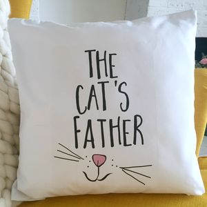 'The Cat's Father' Cat Cushion - bedroom