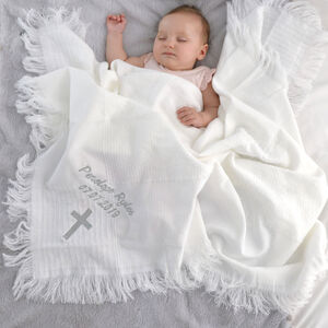 Personalised Baby Christening Silver Embroidered Shawl