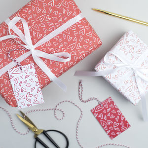 Handrawn Hearts Valentines Wrapping Paper - shop by category