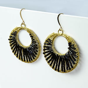 Beaded Black Glass Statement Hoop Earrings