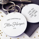 First Christmas As Mrs… Personalised Message Keyring