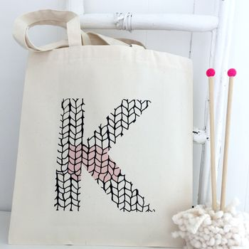 Personalised Initial Knitting Tote