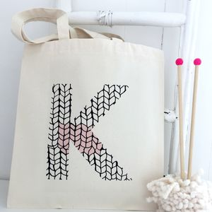 Personalised Initial Knitting Tote - storage & organisers