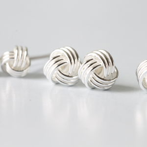 Silver Friendship Knot Ear Studs Earrings - jewellery sale