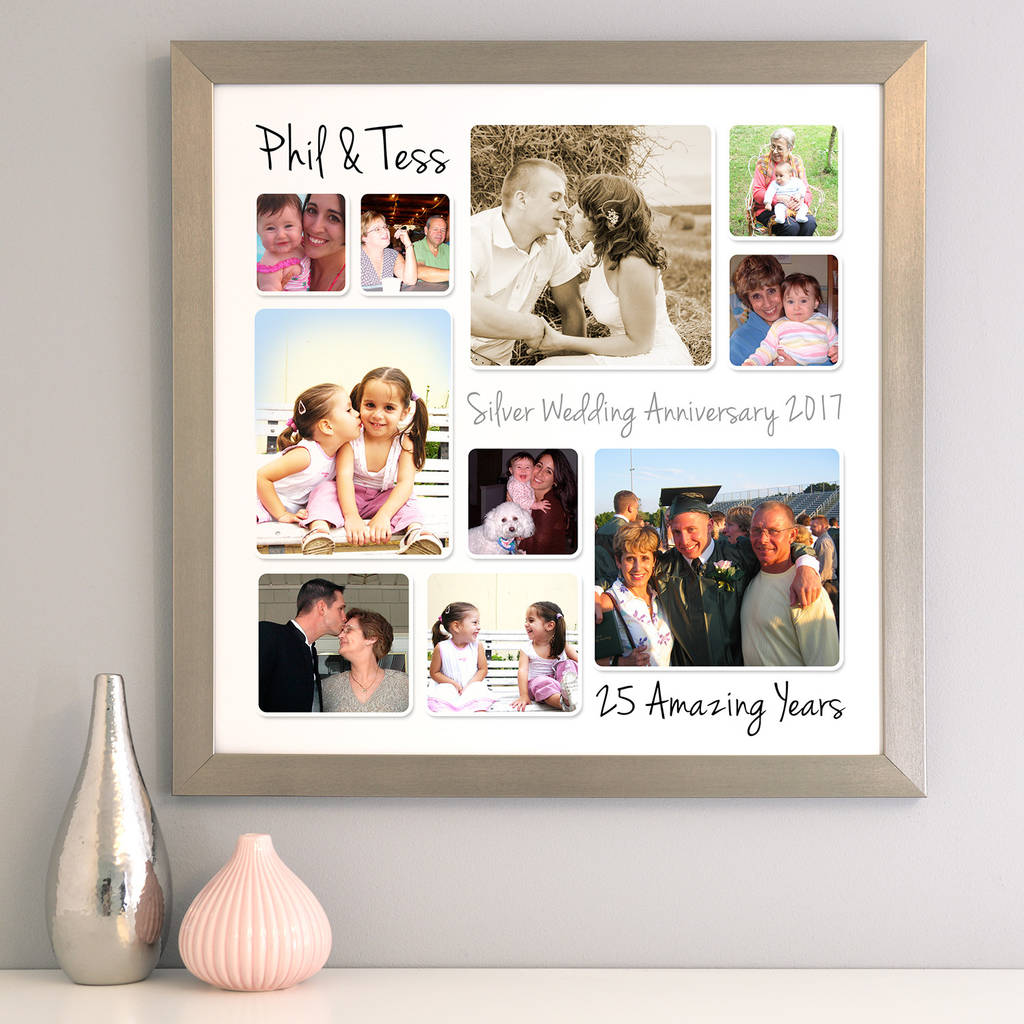 personalised silver wedding anniversary photo collage by cherry pete ...