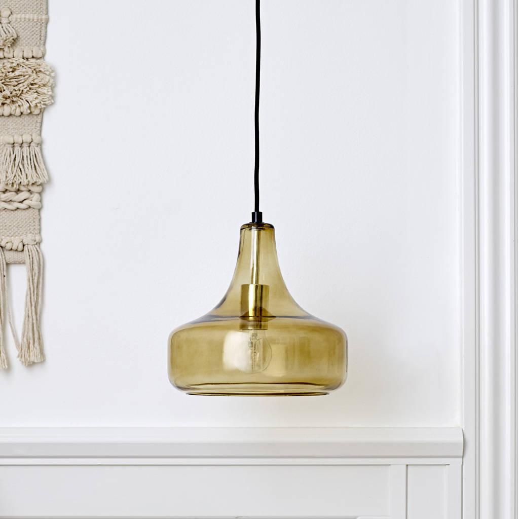 Bloomingville Hanging Lamp In Brown Glass