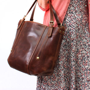 Leather Handbag Bucket Tote Bag, Vintage Brown - bags & purses