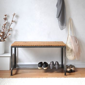 Reclaimed Wood And Steel Shoe Rack/Bench