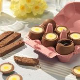 Half A Dozen Chocolate Filled Eggs And Chocolate Toast - easter