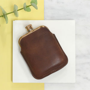 Copper Hip Flask With Personalised Leather Sleeve