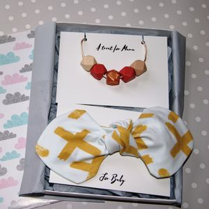 Cross Print Mum And Baby Teething Gift Set
