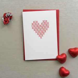 Hugs And Kisses Heart Valentine's Card - all purpose cards