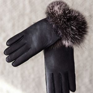 Black With Silver Cuff Sheepskin Gloves