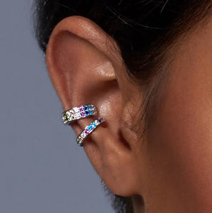 Crystal Rainbow Ear Cuff - earrings