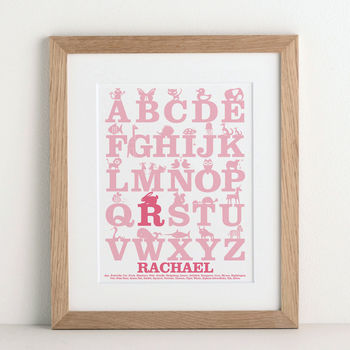 Personalised Baby Gift Alphabet print from Letterfest