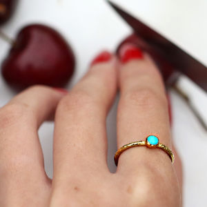 Raw Stone Stacking Ring: Turquoise - birthstone jewellery gifts