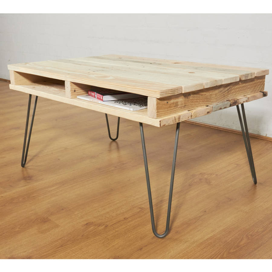 Reclaimed pallet wooden coffee table hairpin legs by sunnyside interiors Legs for a coffee table