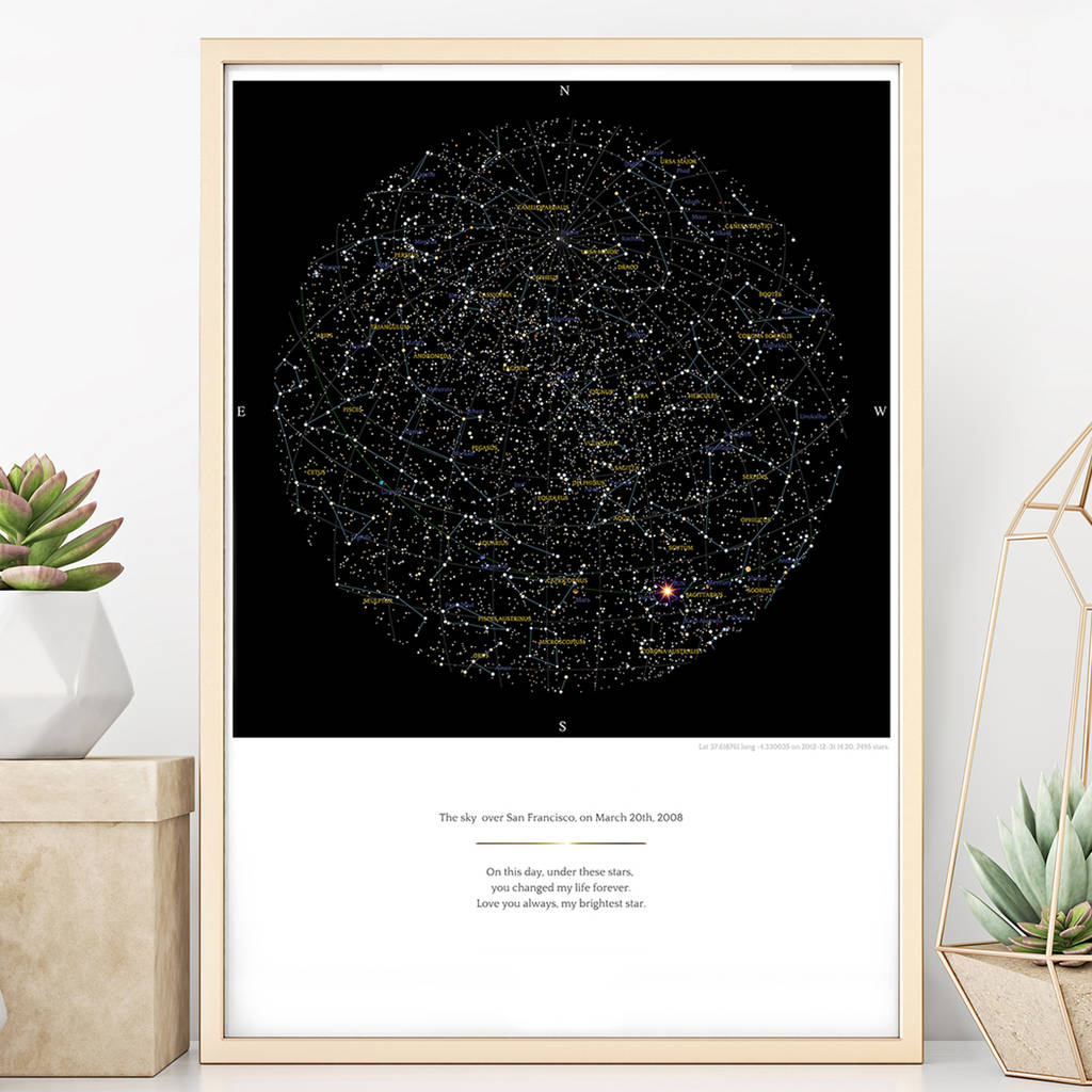 Personalised Map Of The Stars Print By Greaterskies - Star map from my location