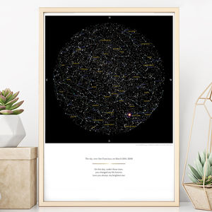 Personalised Map Of The Stars Print - anniversary gift ideas