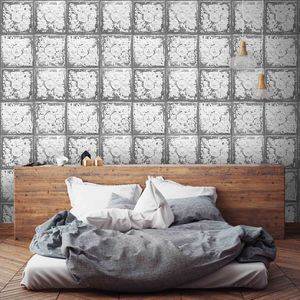 Cracked Tin Tile Wallpaper By Woodchip And Magnolia - home decorating