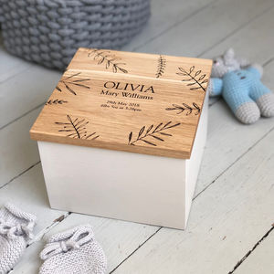 Bespoke Oak Baby Box - christening gifts