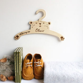 Personalised Childrens Coat Hanger With Bear Design