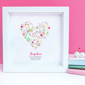 Personalised 21st Birthday Button Heart Framed Art - mixed media & collage