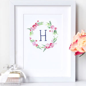 Personalised Flower Wreath Print With Peonies - children's room