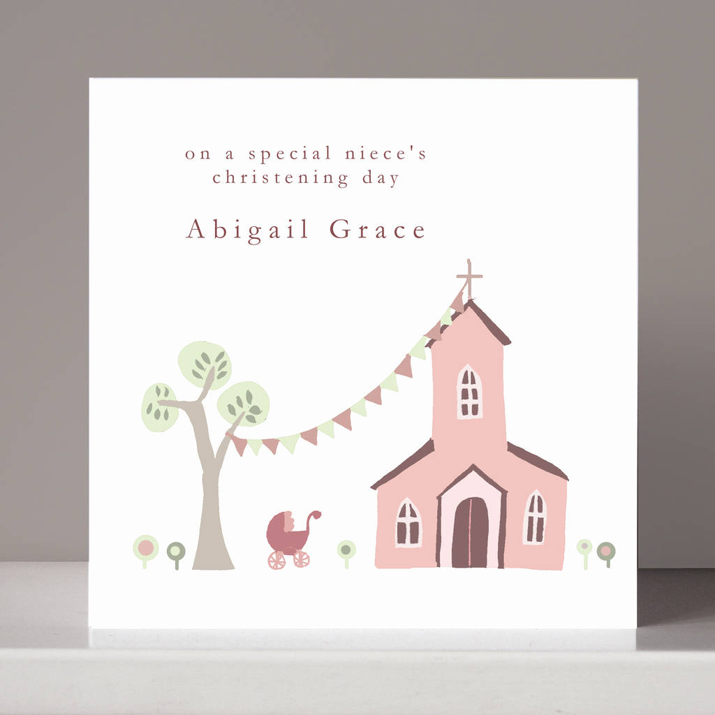 personalised christening card for or boy by molly moo designs