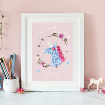 'You Are Magical' Unicorn Girls Gift Bedroom Print