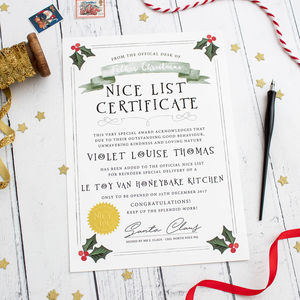 Santa's Nice List Christmas Certificate - christmas home accessories