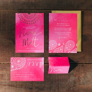 Eastern Glamour Gold Foil Wedding Stationery - save the date cards