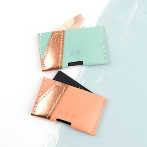 Personalised Leather Card Holder With Gold Flash