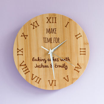 Personalised Make Time For Bamboo Clock