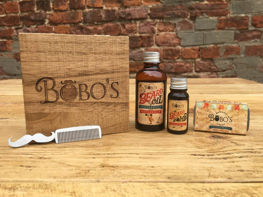 beard and moustache boxed grooming kit by bobo 39 s beard company. Black Bedroom Furniture Sets. Home Design Ideas