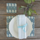 Isabella Blue Set Of Four Coasters
