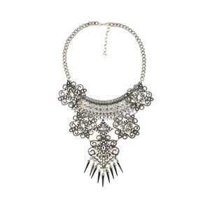 Silver And Clear Crystal Ornate Statement Necklace - statement necklaces