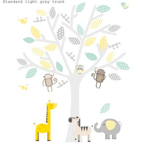 Yellow, Grey And Seagrass Safari - children's room