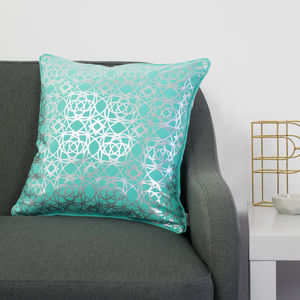 Metallic Ornate Print Square Cushion