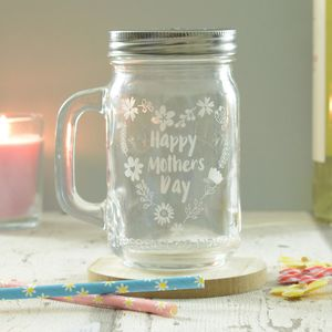 Happy Mothers Day Floral Heart Engraved Drinking Jar