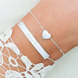 Breina Sterling Silver Heart And Bar Bracelet Set