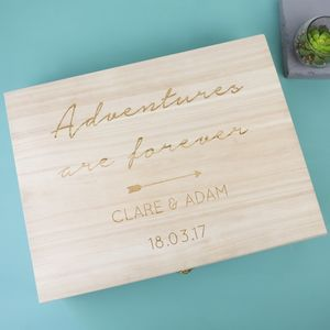 Personalised 'Adventures' Large Wooden Gift Box