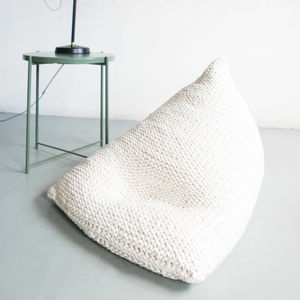 Hand Knitted Pearl Wedge Bean Bag - bedroom